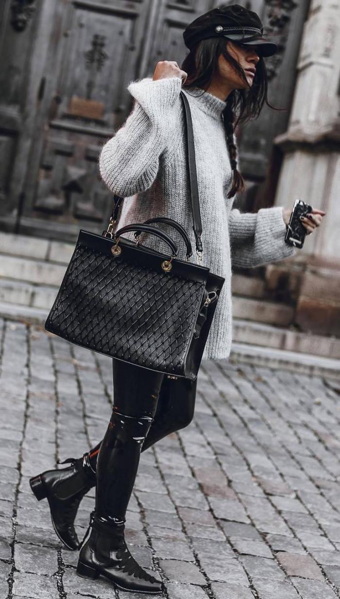 Это изображение имеет пустой атрибут alt; его имя файла - fall-trends-hat-plus-grey-sweater-plus-bag-plus-leather-pants-plus-boots.jpg