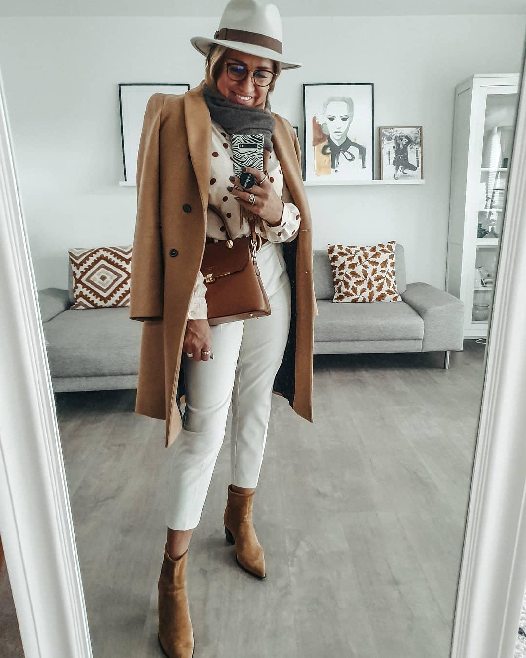 осенний гардероб коричневое пальто