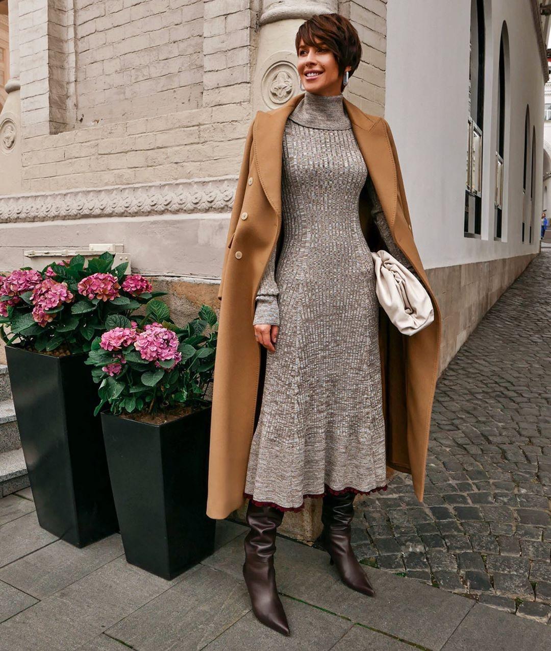 осенний гардероб трикотажное платье