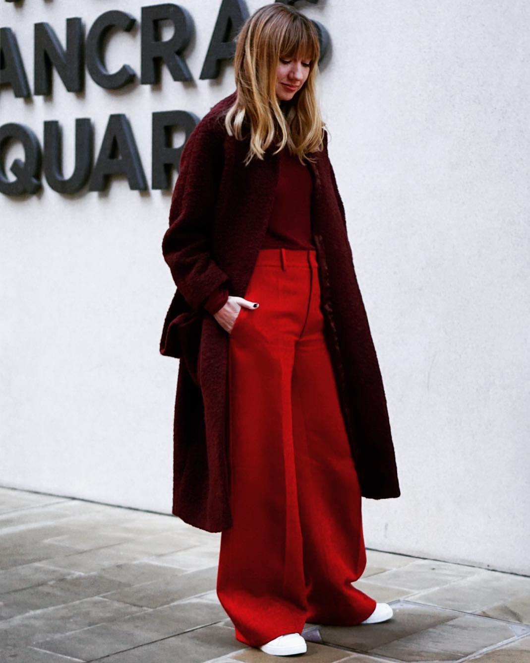 Широкие брюки осенью красные брюки