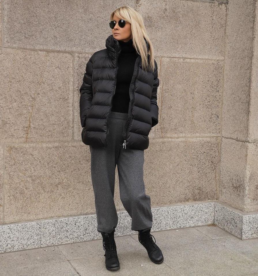 Широкие брюки осенью сочетание с пуховиком