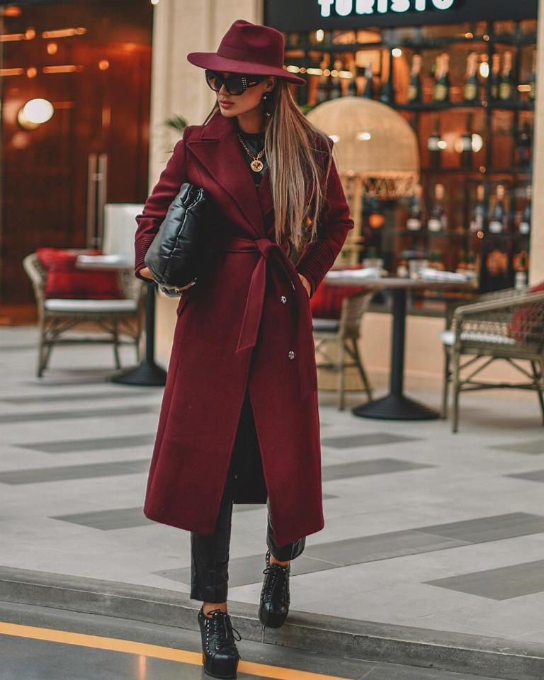 бордо марсала пальто